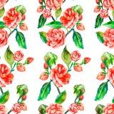 Kamelie, Rose, nahtloses Blumenmuster Lizenzfreie Stockbilder