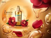 Kameliowa włosianego oleju reklama royalty ilustracja