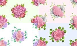 Kameliowy kwiatu wzoru set, kreskówka styl ilustracji