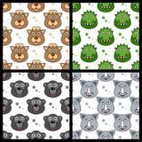 Kamelkrokodil Gorilla Rhino Seamless vektor illustrationer