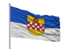 Kamen City Flag On Flagpole, Germania, isolata su fondo bianco royalty illustrazione gratis