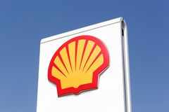 Shell logo on a gas station. Kamen, Germany - July 22, 2018: Shell logo on a gas station. Shell is an Anglo-Dutch multinational oil and gas company headquartered stock photography