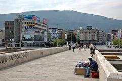 Kamen Host Bridge, Skopje, Macedonia fotografía de archivo