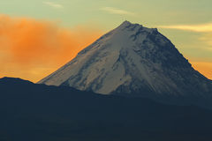 Kamen volcano on background of sunrise. Kluchevskaya group volcanoes stock photo