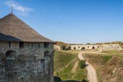 Kamenec-Podolskiy市,乌克兰老城堡视图  免版税图库摄影