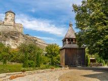 Kamenec-Podolskiy市,乌克兰老城堡视图  库存图片