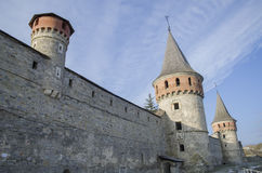 Kamenetz-Podolsk fortress, Ukraine. Wall with towers stock photos
