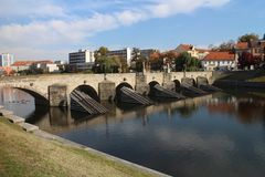 Kamenný most over Otava river in Písek royalty free stock photo