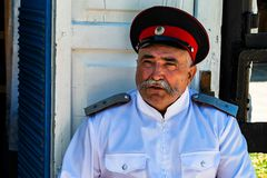 KAMENNOMOSTSKY, RUSSIA - LUGLIO 2015: Ritratto dell'uomo del cosacco in Russia Fotografia Stock Libera da Diritti