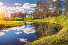 On the Kamennyj Creek. The building of the presence sites On the Kamennyj Creek in Uglich on a spring sunny day royalty free stock image