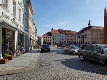 Kamenz old, Germany. Altstadt Street Parking Royalty Free Stock Image