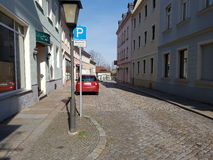 Kamenz old Germany. Altstadt Street Parking Stock Image