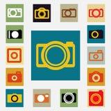 Kamer ikony ustawiają czarny i biały kolor Fotografia Royalty Free