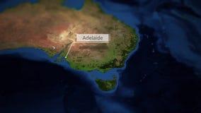 Kamer niecki nad mapą Australia z wskaźnikiem - Adelaide ilustracja wektor