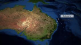 Kamer niecki nad mapą Australia z wskaźnikiem - Brisbane ilustracja wektor