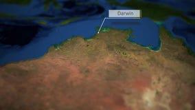 Kamer niecki nad mapą Australia z wskaźnikiem - Darwin royalty ilustracja