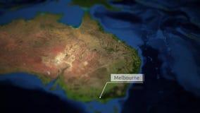 Kamer niecki nad mapą Australia z wskaźnikiem - Melbourne ilustracja wektor