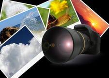 Kamera über Naturschüssen Stockfotografie