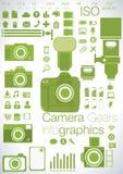 Kamera übersetzt infographics Lizenzfreies Stockbild