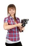 kamera ładować dziewczyny filmu szkockiej kraty koszula Zdjęcia Stock