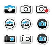 Kamera analog i cyfrowe ikony ustawiający Fotografia Stock