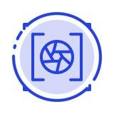 Kamera, apertura, obiektyw, fotografii linii linii błękit Kropkująca ikona ilustracji