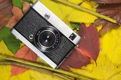 Kamera auf Herbstblättern Stockfotos