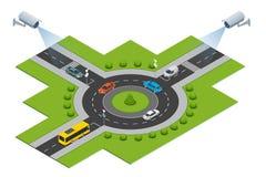 Kamera bezpieczeństwa wykrywa ruchu ruch drogowy CCTV kamera bezpieczeństwa na isometric ruchu drogowego dżem z godziną szczytu ilustracji