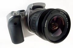 Kamera Digital-SLR mit angebrachtem Zoomobjektiv Stockfotografie