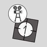 Kamera ekranowy rocznik z filmu odliczanie filmem Zdjęcia Stock