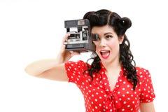 Kamera för kvinna för amerikansk stil för utvikningsflicka retro Arkivbild