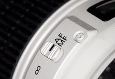 Kamera för lins för fokusströmbrytare på royaltyfria bilder
