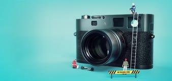Kamera för reparation för modell` s royaltyfri fotografi