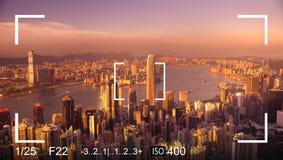 Kamera-Fokus-Ziel-Schnappschuss-Anpassungs-Belichtungs-Konzept Lizenzfreies Stockbild