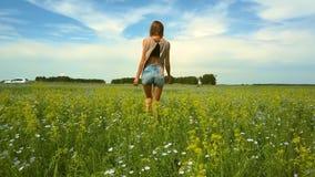 Kamera folgt dem Mädchen, das unter Buchweizenblumen geht stock video