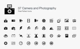 37 Kamera-Fotografie-Pixel-perfekte Ikonen Lizenzfreie Stockbilder
