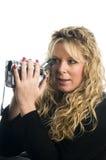 kamera genom att använda den videopd kvinnan Arkivbild