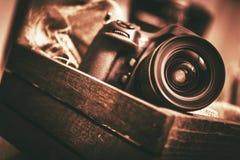 Kamera i asken royaltyfri fotografi