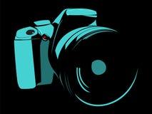 Kamera, loga błękit na czarnym tle ilustracja wektor