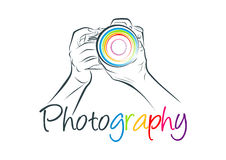 Kamera logo, fotografii pojęcia projekt Fotografia Stock