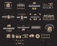 Kamera logo Rocznik fotografii odznaki, etykietki, dslr Modnisia projekt z fotografów elementami Retro styl dla fotografii royalty ilustracja