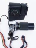 Kamera med exponeringen som är retro Fotografering för Bildbyråer