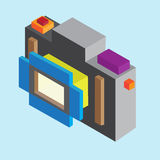Kamera med isometrisk stil Royaltyfria Bilder