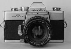 Kamera Minolta för gammal skola Arkivbild