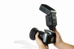 Kamera mit Blinken Stockfoto