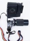 Kamera mit dem Blitz, Retro- Stockbild