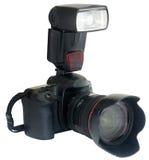 Kamera mit externem Blinken Lizenzfreies Stockbild