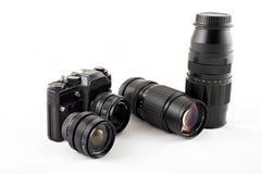 Kamera mit Objektiven Stockfoto