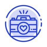 Kamera, Nocken, Videospiel, Bilder, verbinden Linie Ikone der Fotografie-blauen punktierten Linie vektor abbildung