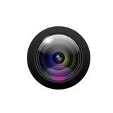 Kamera obiektyw na białym tle. Wektor ilustracji